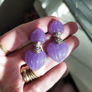 14K Gold Lavender Jade/ Diamond Earrings